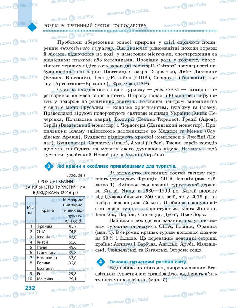 Підручники Географія 9 клас сторінка 232