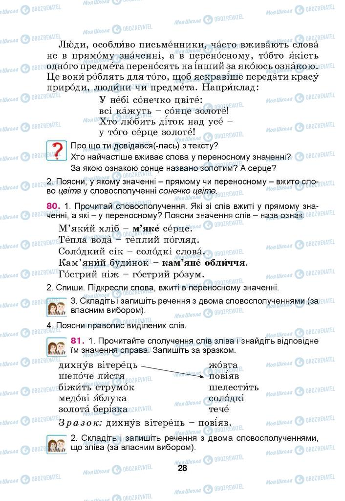 Учебники Укр мова 4 класс страница 28