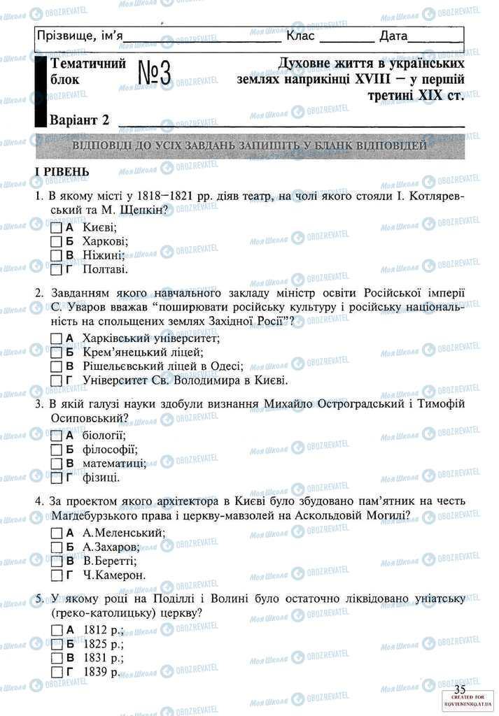 Підручники Історія України 9 клас сторінка 35