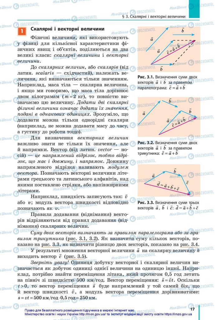 Підручники Фізика 10 клас сторінка 17