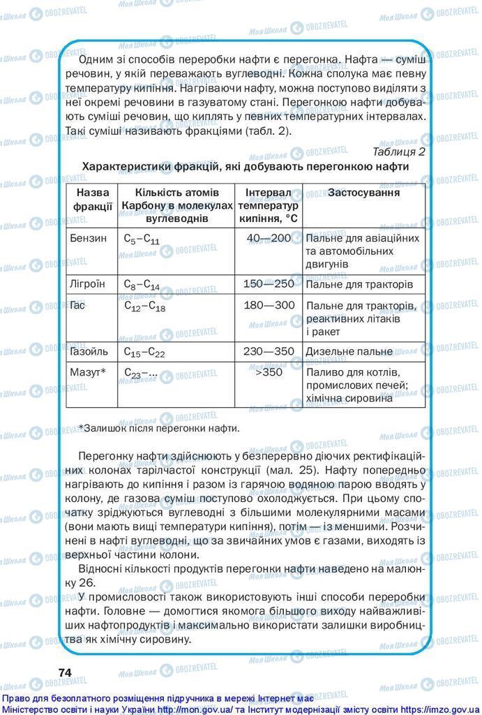 Підручники Хімія 10 клас сторінка 74