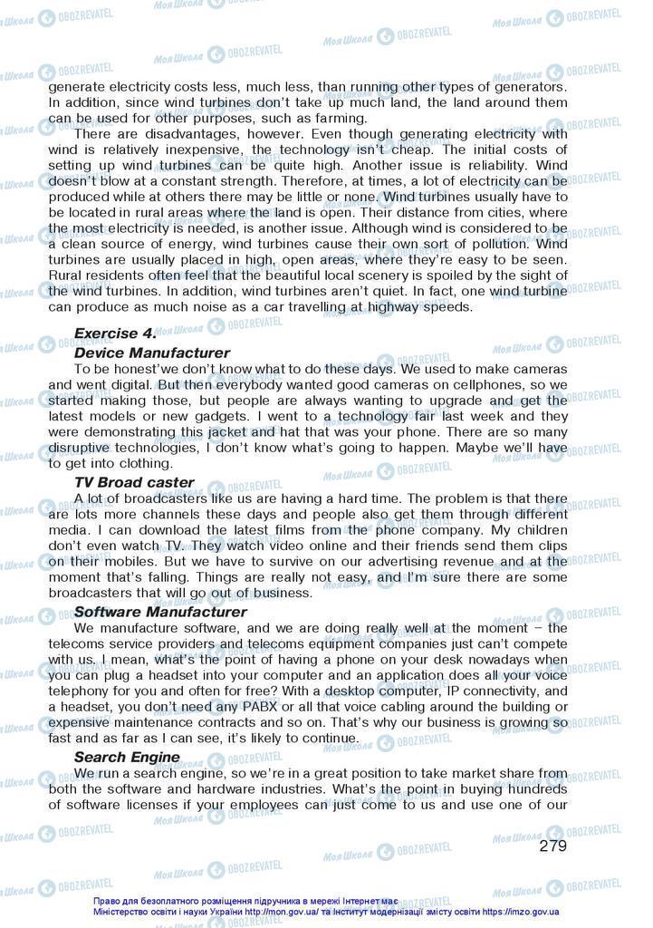 Підручники Англійська мова 10 клас сторінка 279