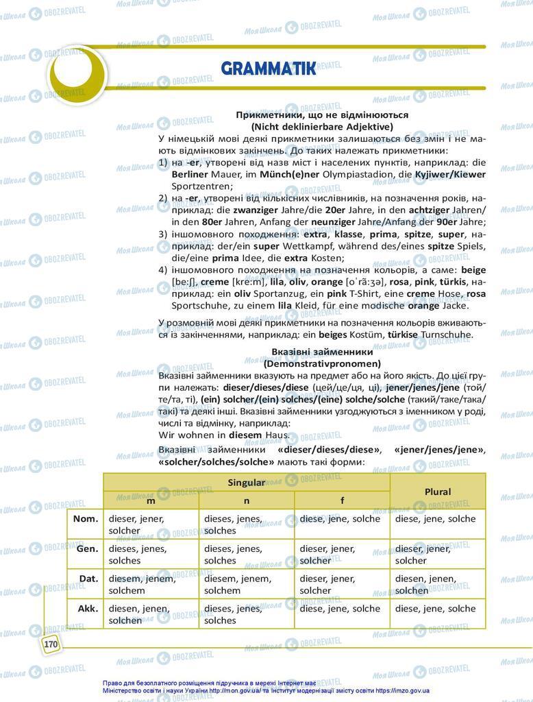 Підручники Німецька мова 10 клас сторінка 170