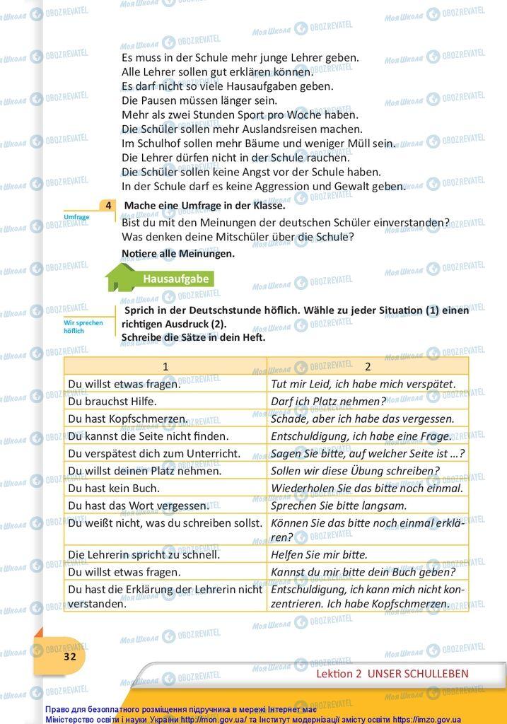 Підручники Німецька мова 10 клас сторінка  32