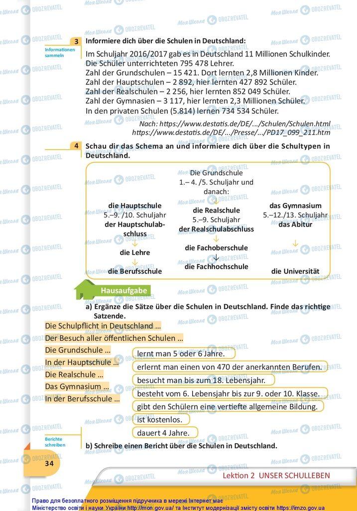 Підручники Німецька мова 10 клас сторінка 34