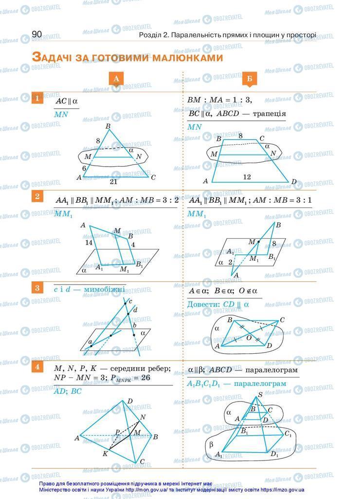Підручники Геометрія 10 клас сторінка 90