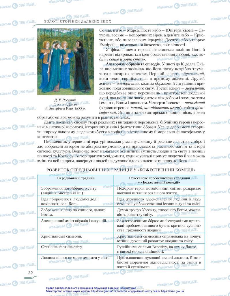 Підручники Зарубіжна література 10 клас сторінка 22