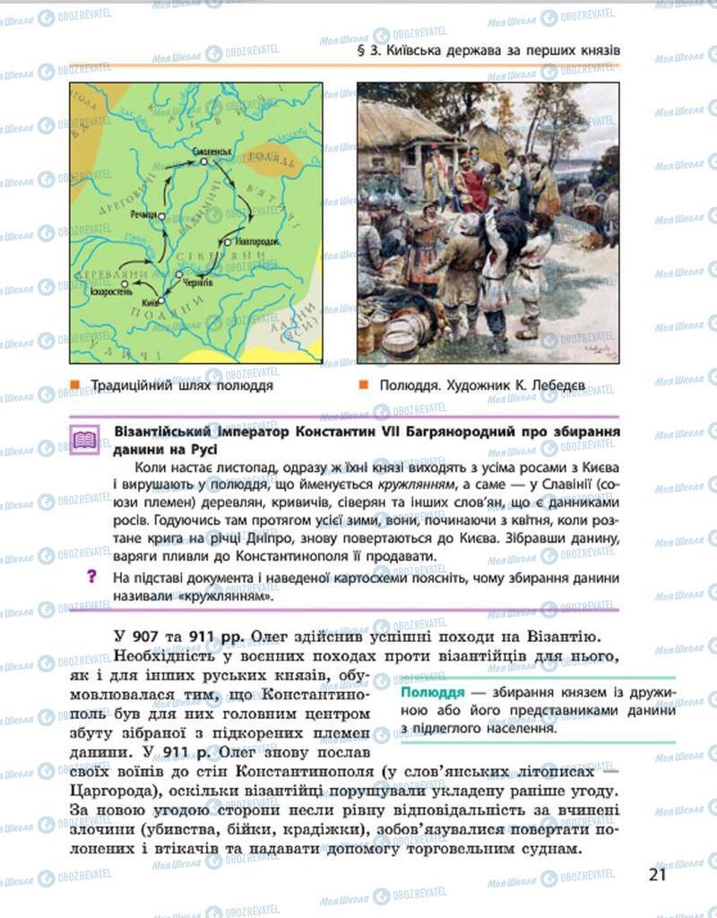 Підручники Історія України 7 клас сторінка 21