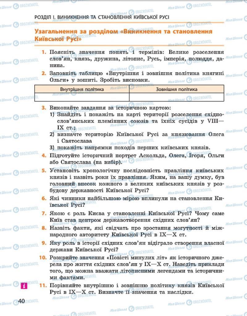 Підручники Історія України 7 клас сторінка 40
