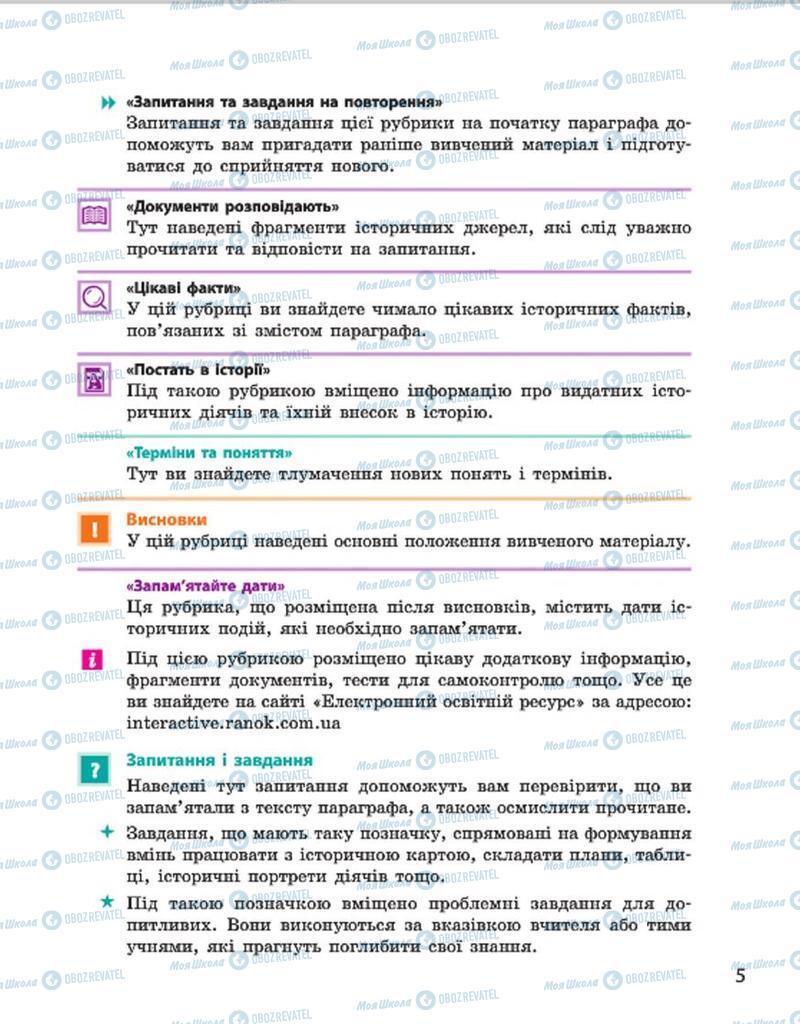 Учебники История Украины 7 класс страница 5