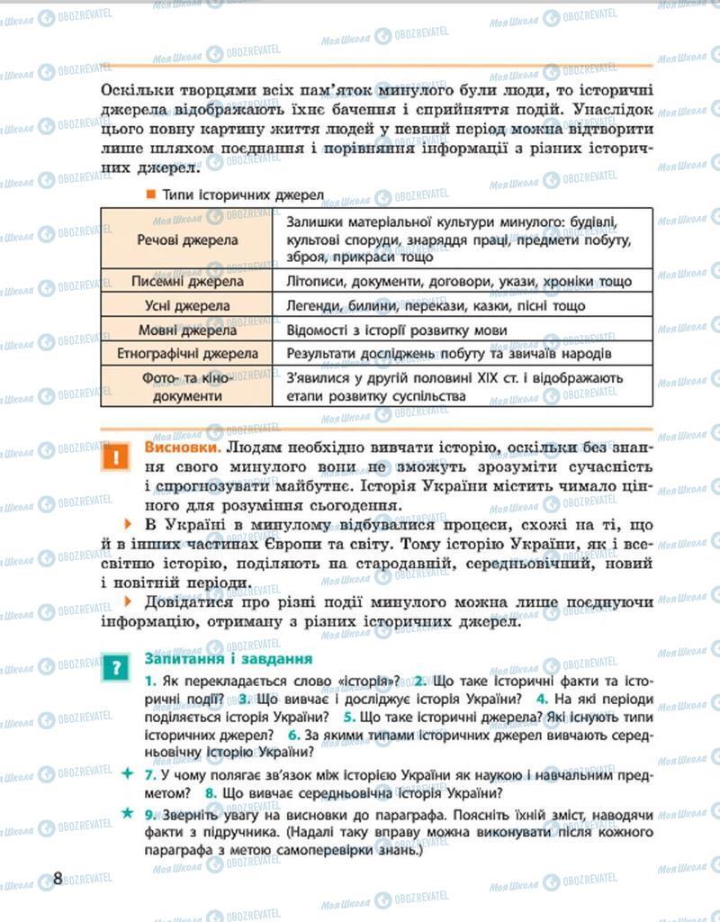 Підручники Історія України 7 клас сторінка 8