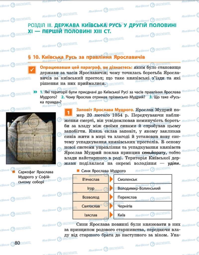 Підручники Історія України 7 клас сторінка  80