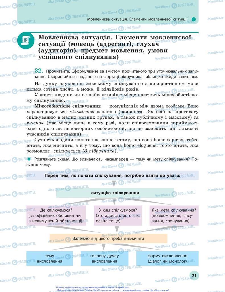 Учебники Укр мова 10 класс страница 21