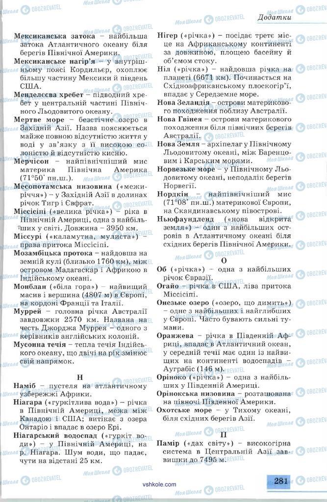 Підручники Географія 7 клас сторінка 281