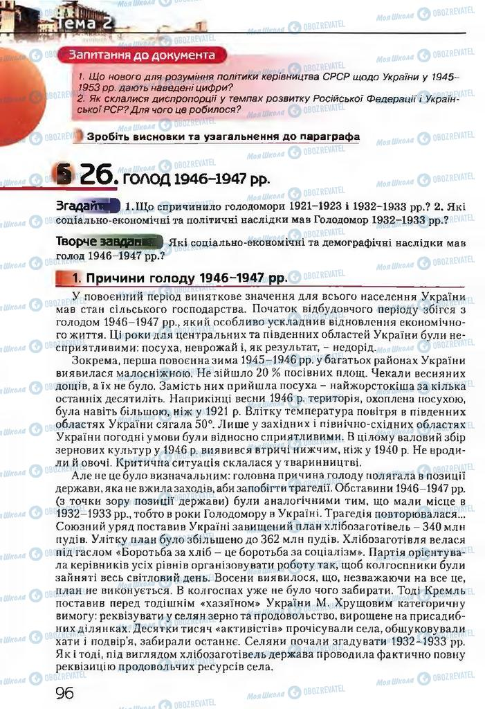 Підручники Історія України 11 клас сторінка  96