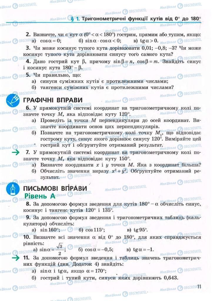 Підручники Геометрія 9 клас сторінка 11