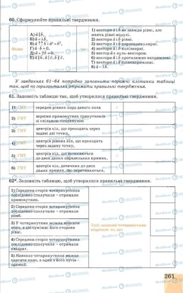 Підручники Геометрія 9 клас сторінка 261