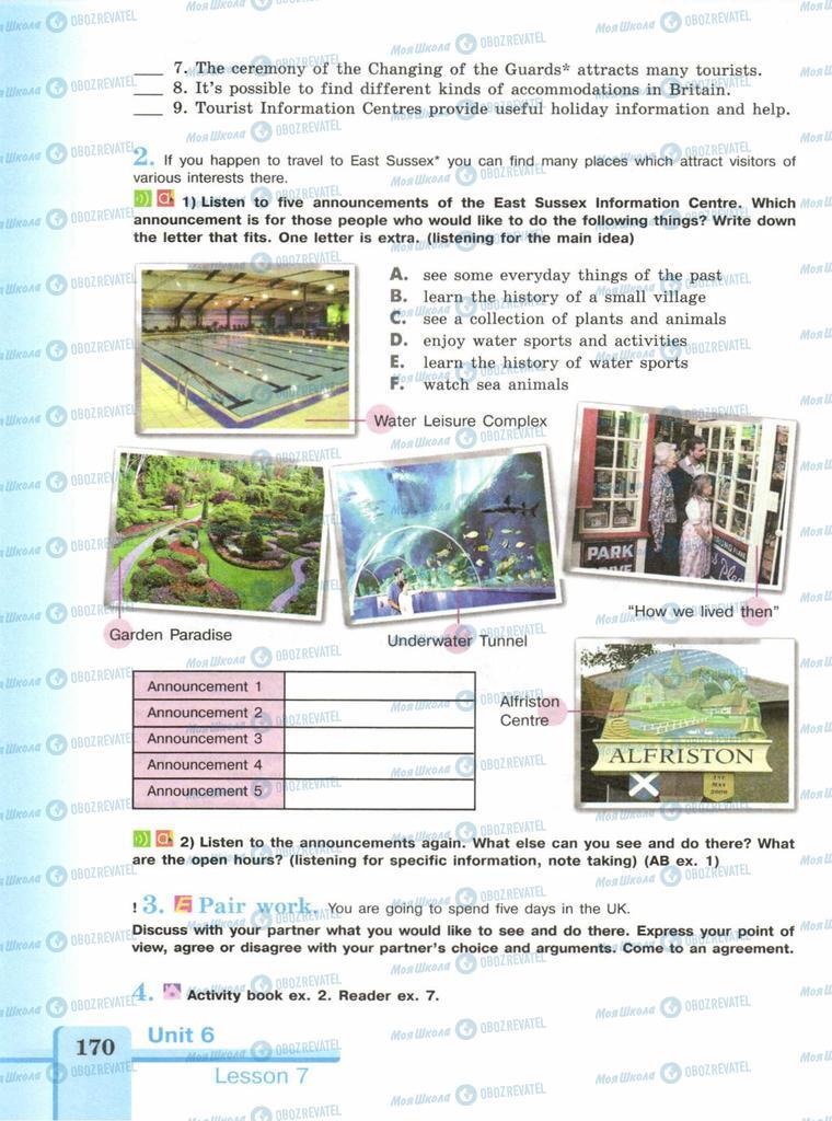 Підручники Англійська мова 9 клас сторінка  170