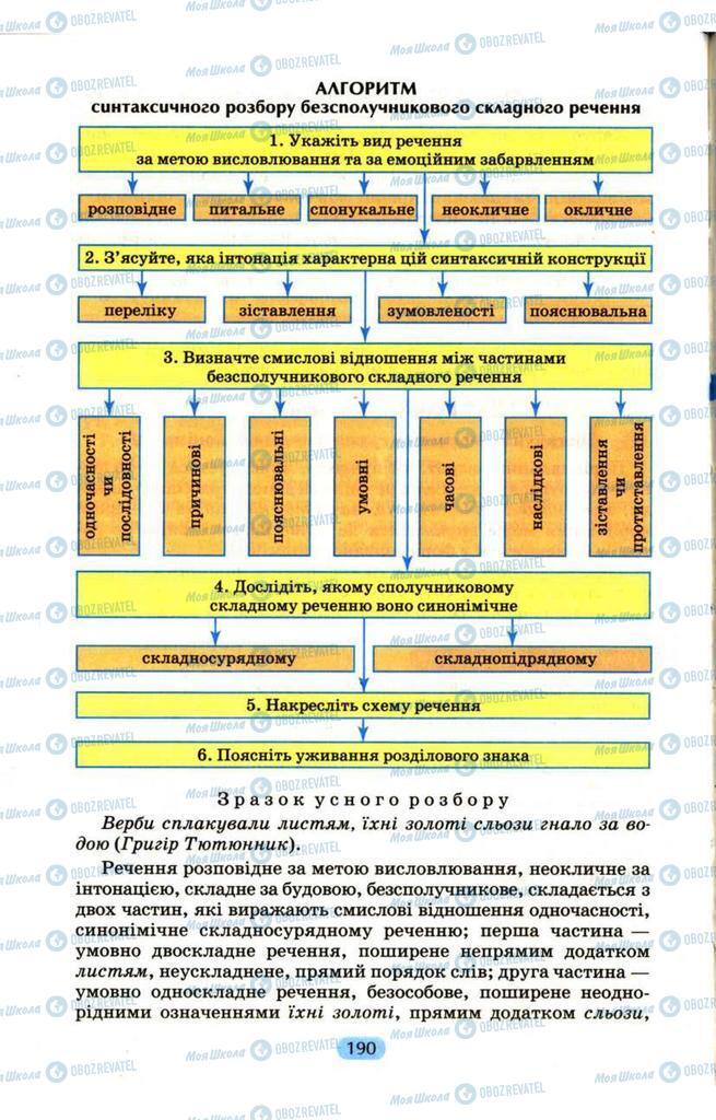Підручники Українська мова 9 клас сторінка  190
