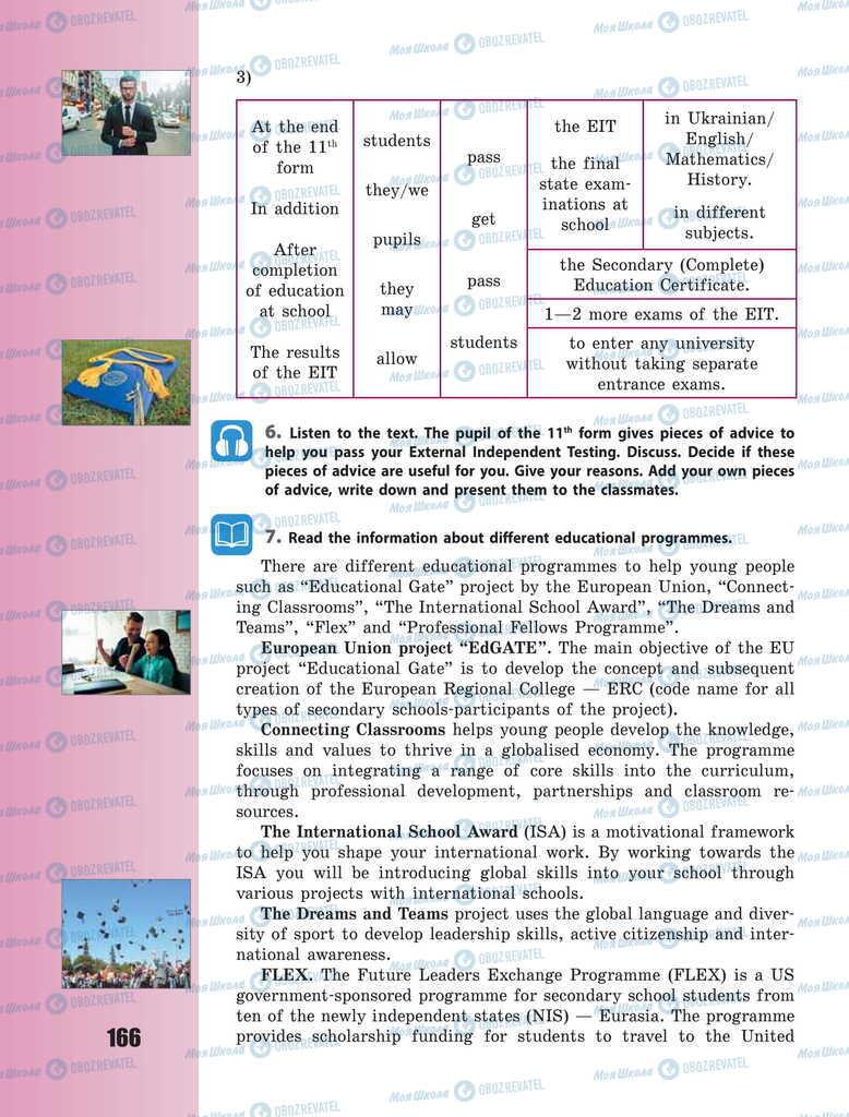 Підручники Англійська мова 11 клас сторінка 166
