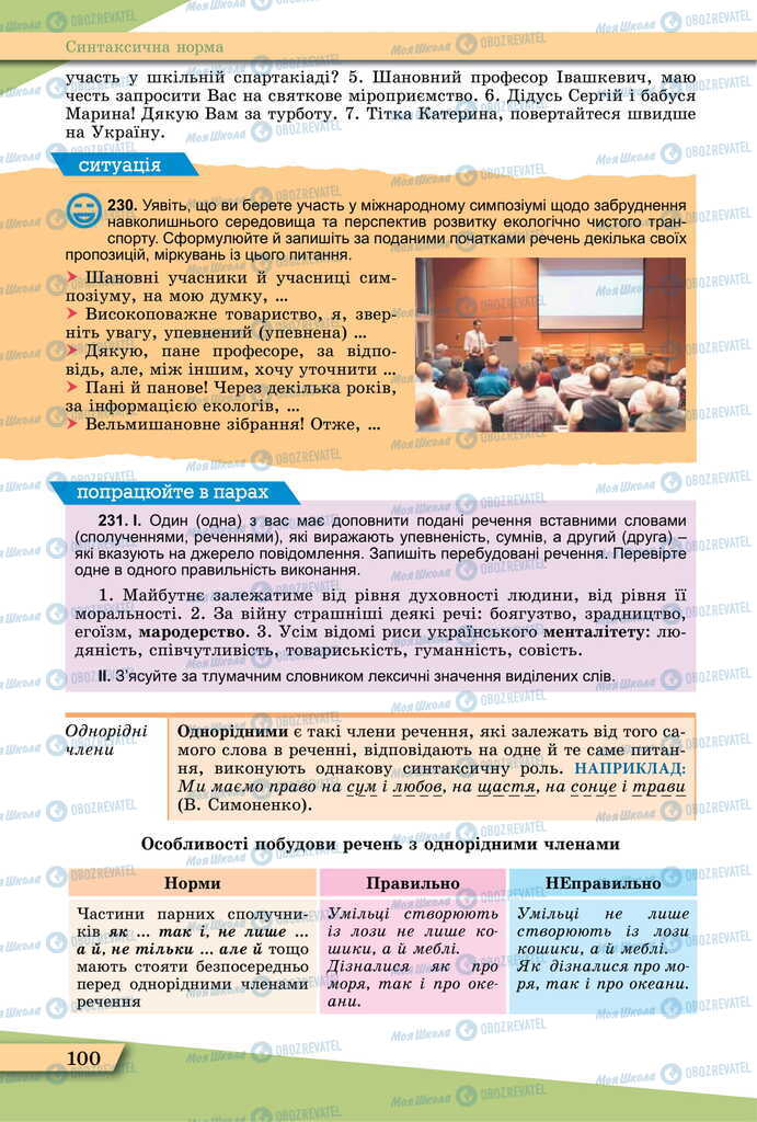 Підручники Українська мова 11 клас сторінка 100