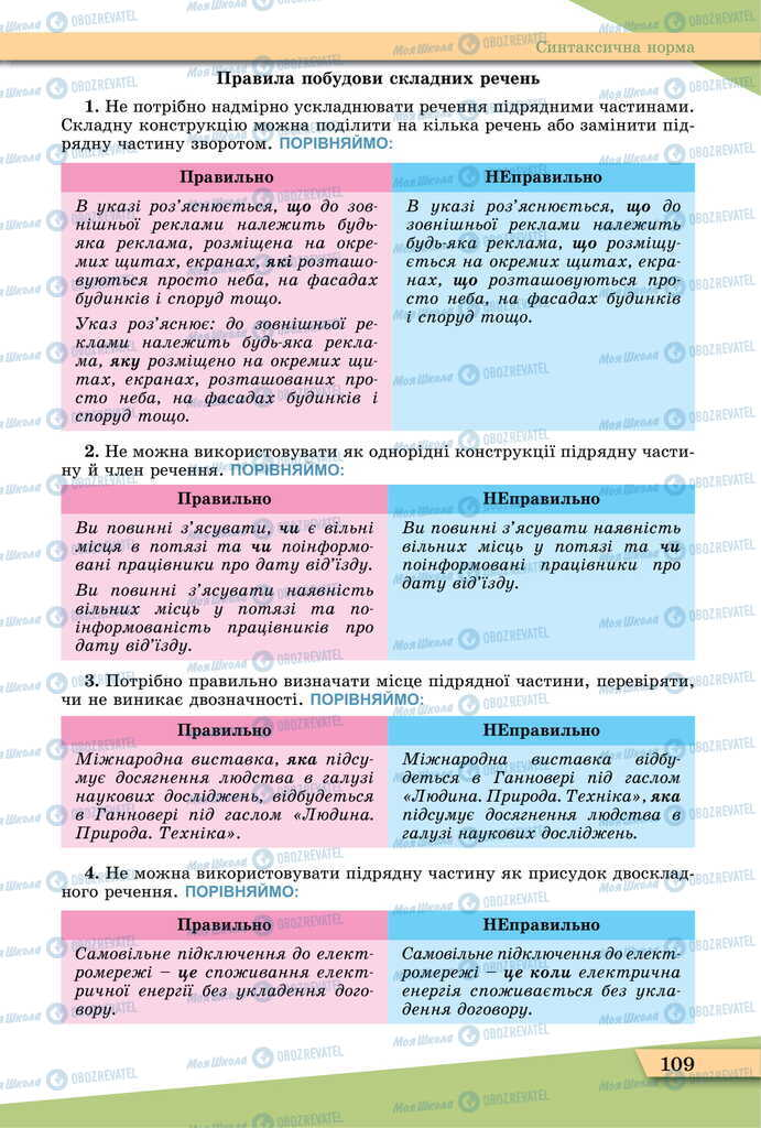 Учебники Укр мова 11 класс страница 109