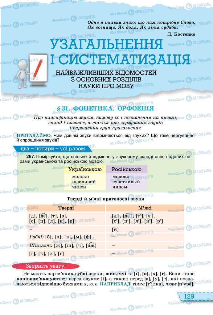 Учебники Укр мова 11 класс страница  129
