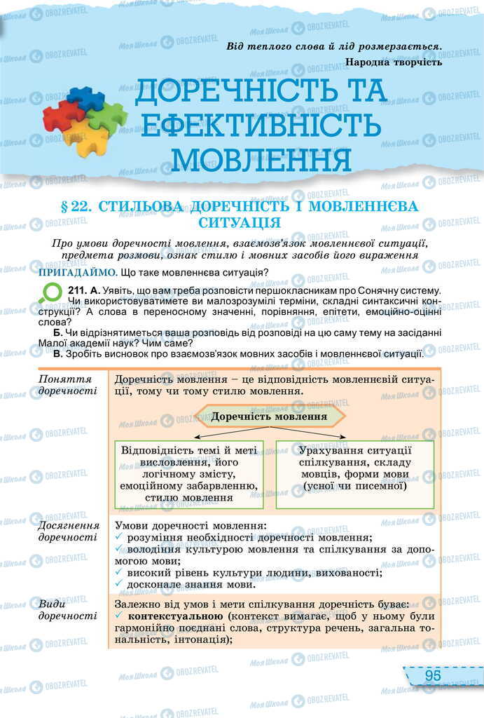 Учебники Укр мова 11 класс страница  95