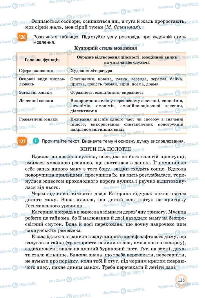 Підручники Українська мова 11 клас сторінка 115