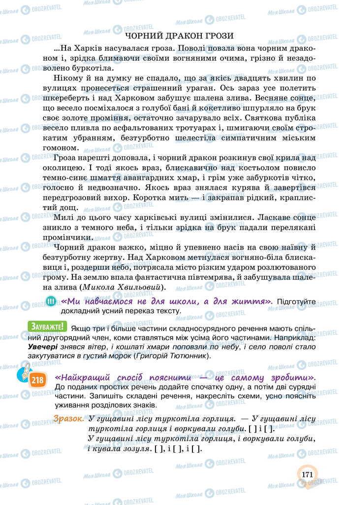 Підручники Українська мова 11 клас сторінка 171