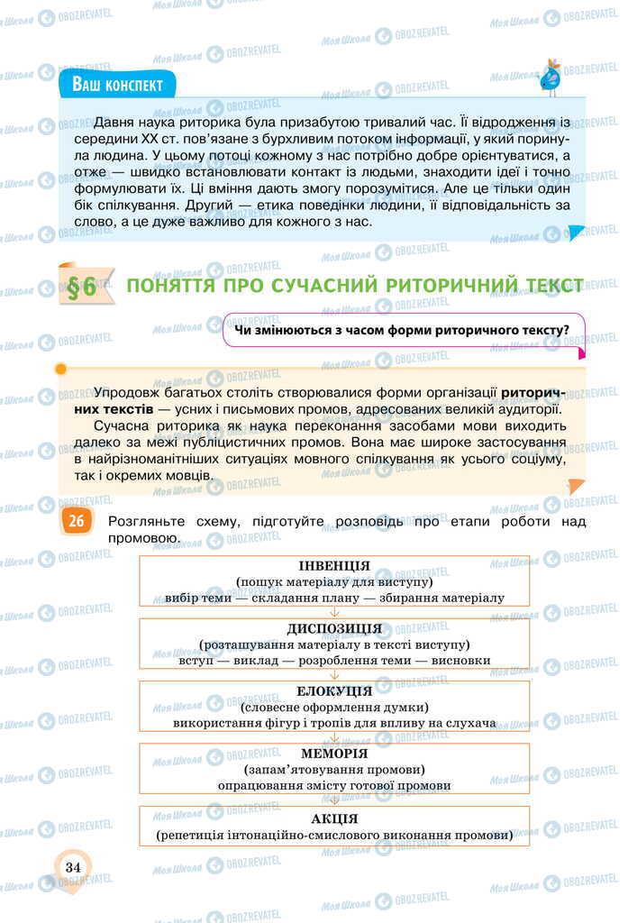 Учебники Укр мова 11 класс страница  34