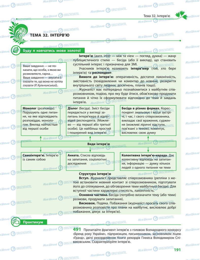 Учебники Укр мова 11 класс страница 191