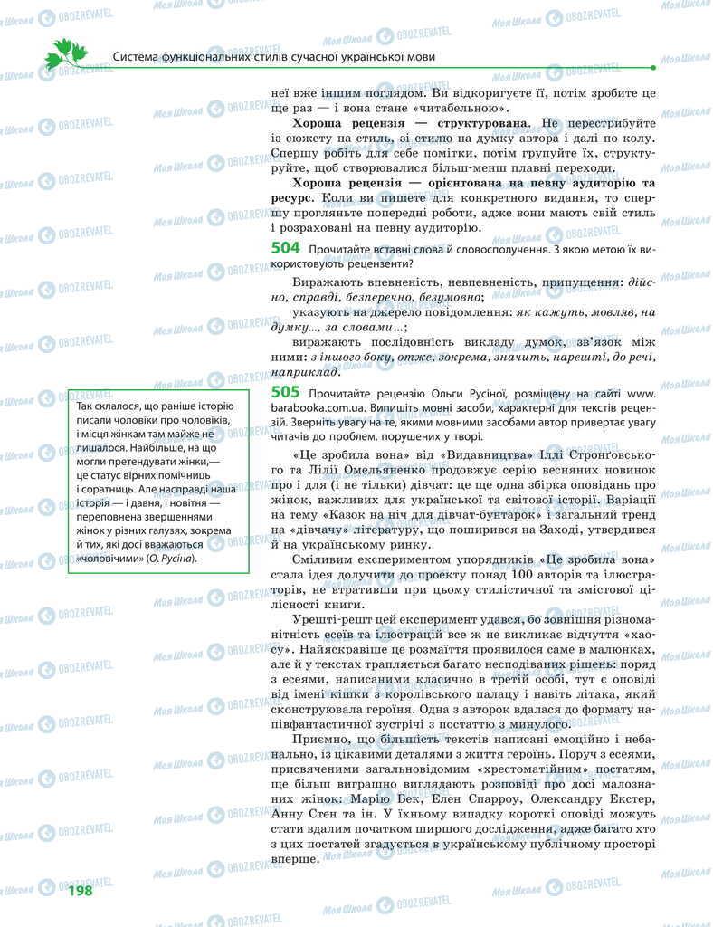 Учебники Укр мова 11 класс страница 198