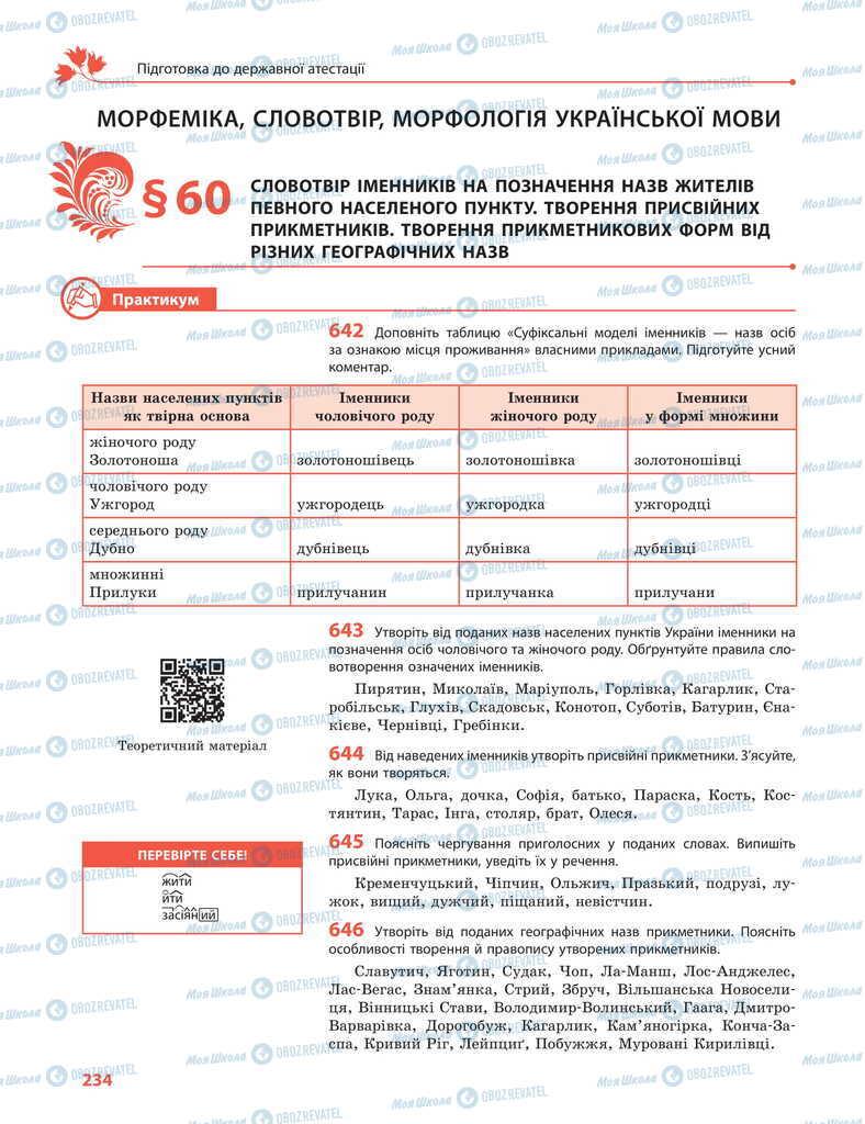 Учебники Укр мова 11 класс страница  234