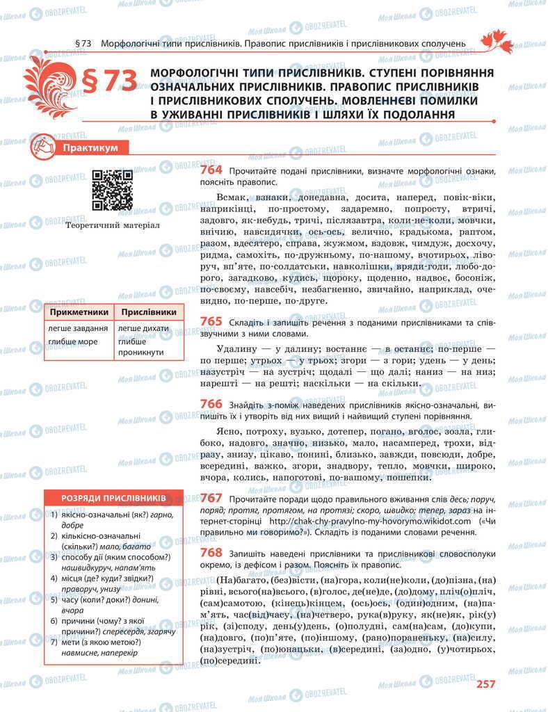 Підручники Українська мова 11 клас сторінка  257