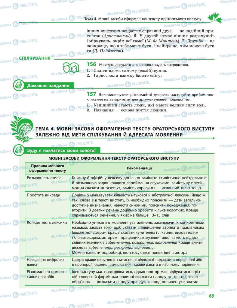 Підручники Українська мова 11 клас сторінка 69
