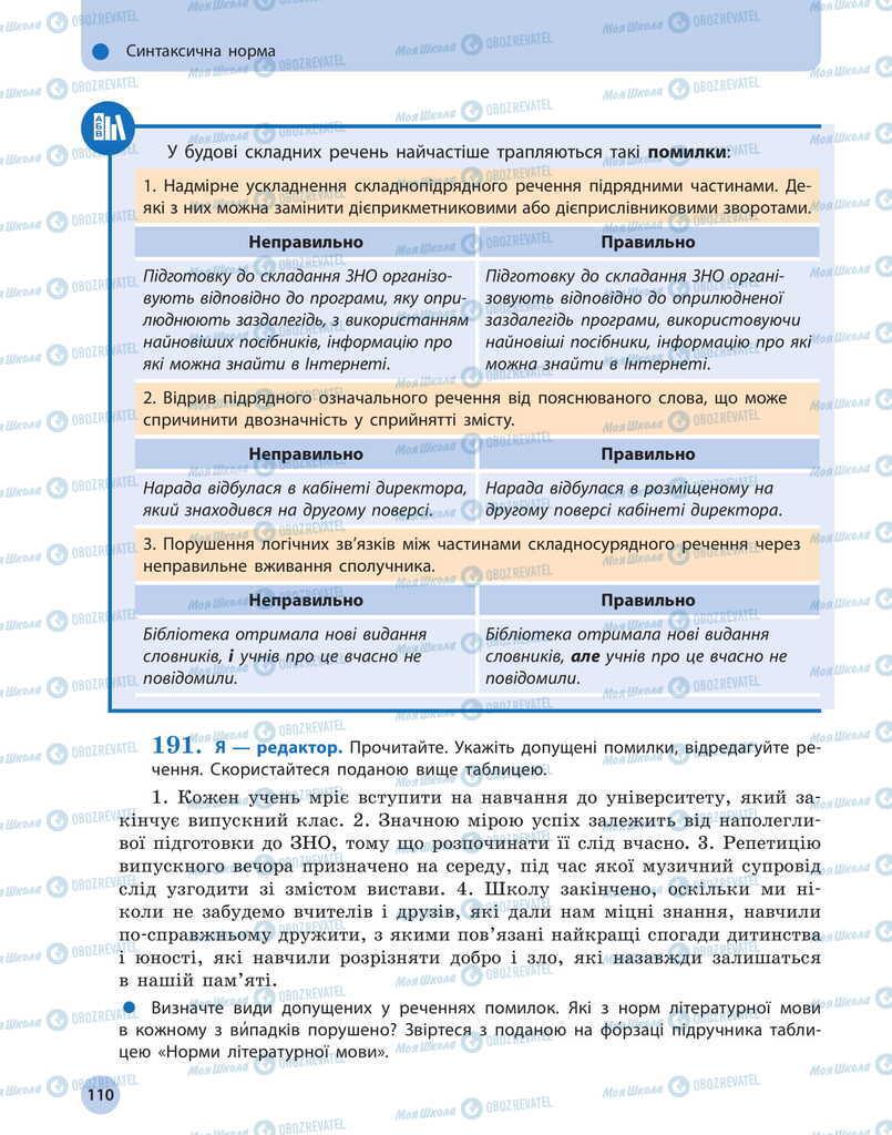 Учебники Укр мова 11 класс страница 110