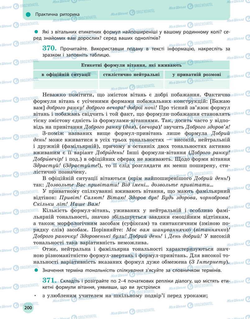 Підручники Українська мова 11 клас сторінка 200
