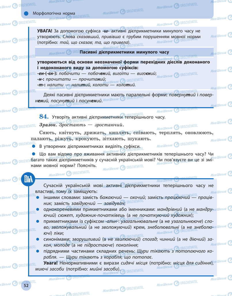 Учебники Укр мова 11 класс страница 52
