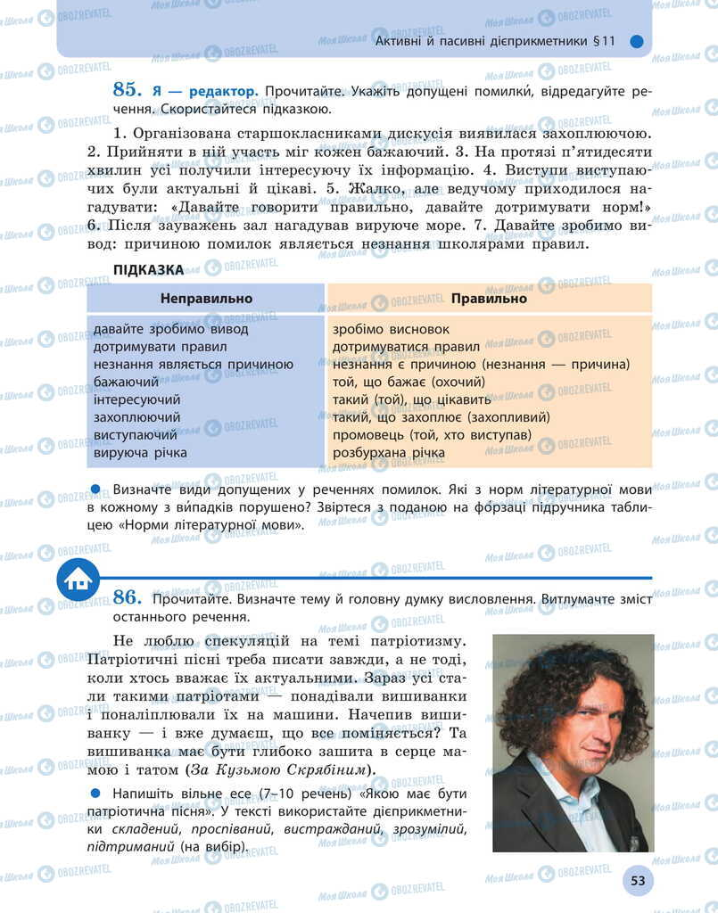 Учебники Укр мова 11 класс страница 53