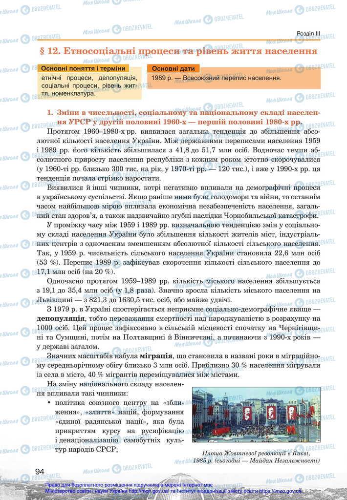 Підручники Історія України 11 клас сторінка  94