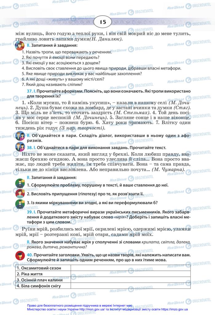 Підручники Українська мова 11 клас сторінка 15