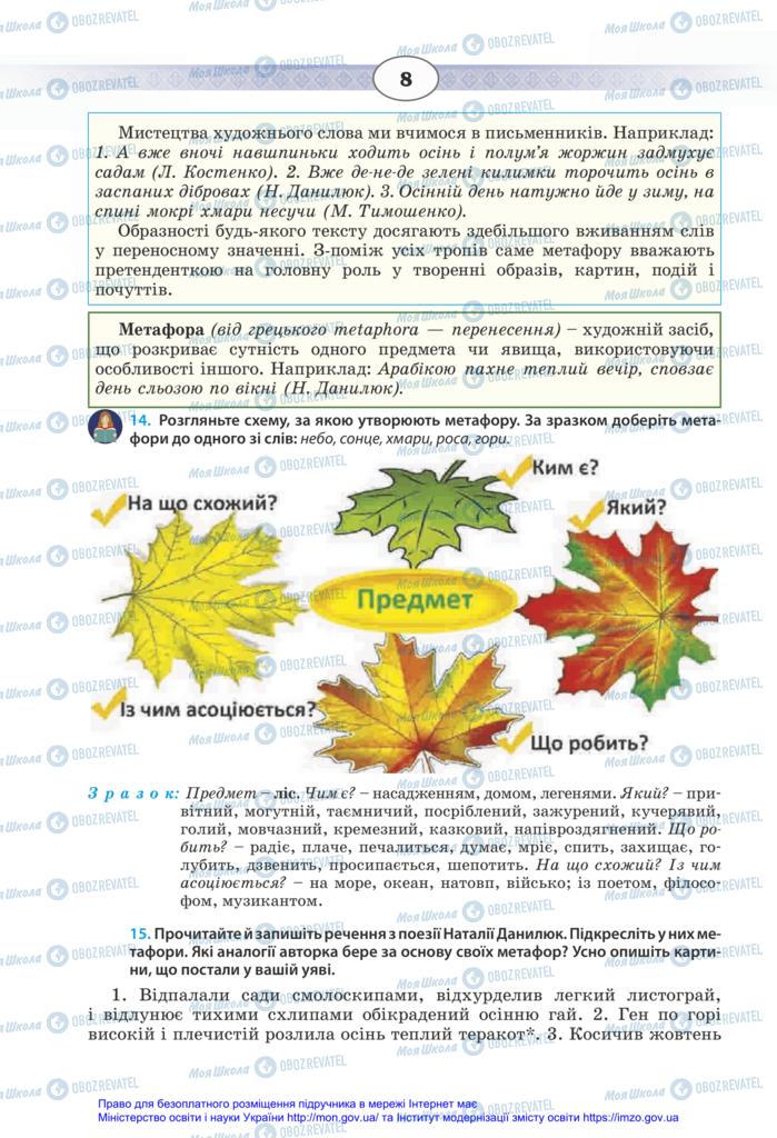Підручники Українська мова 11 клас сторінка 8