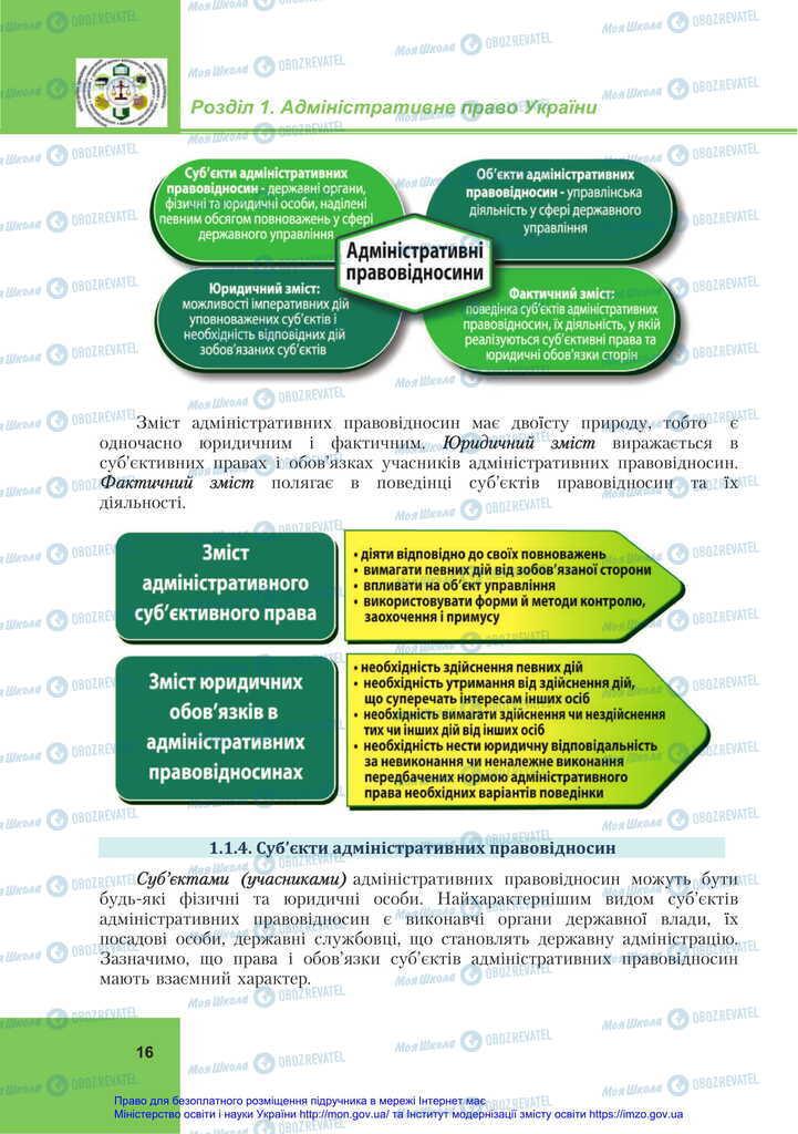 Учебники Правоведение 11 класс страница 16
