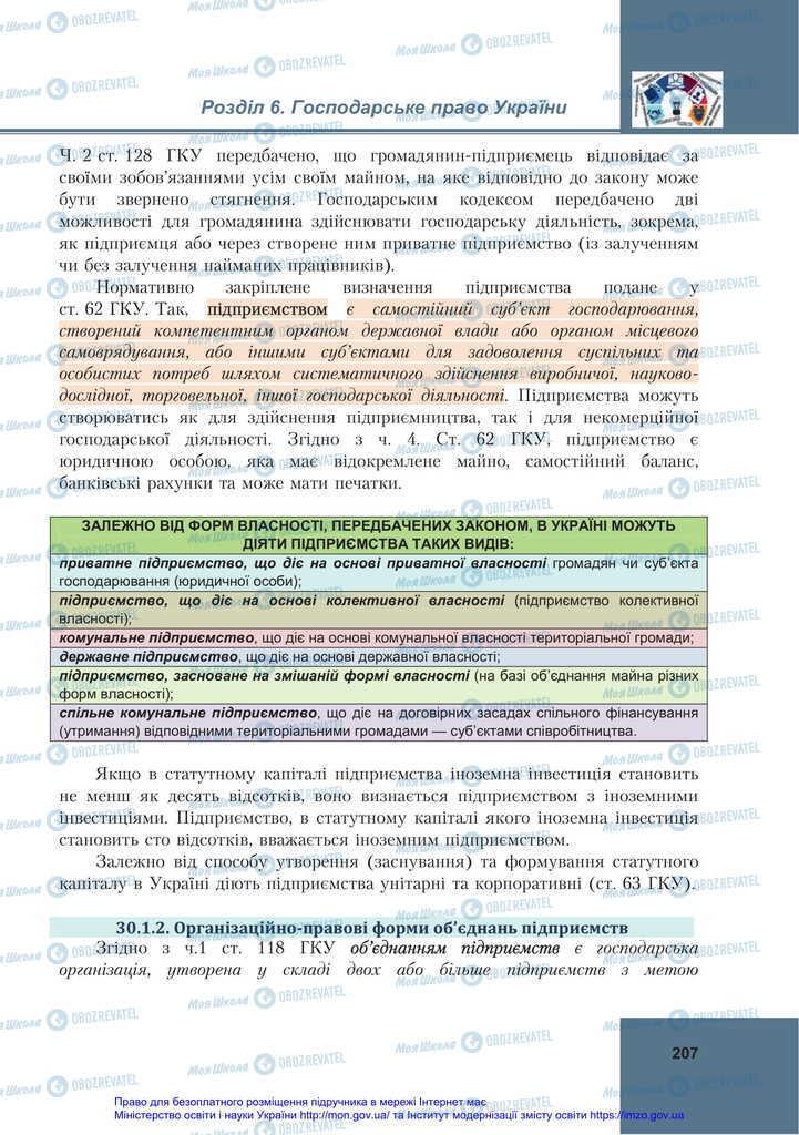Підручники Правознавство 11 клас сторінка 207
