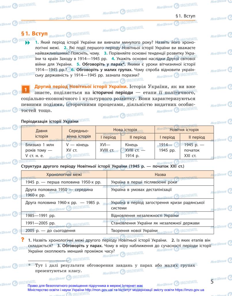 Підручники Історія України 11 клас сторінка  5