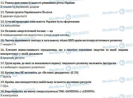 ДПА Географія 11 клас сторінка 11-20