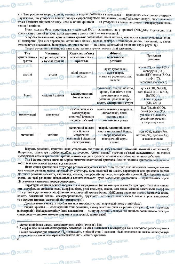 ЗНО Хімія 11 клас сторінка  58