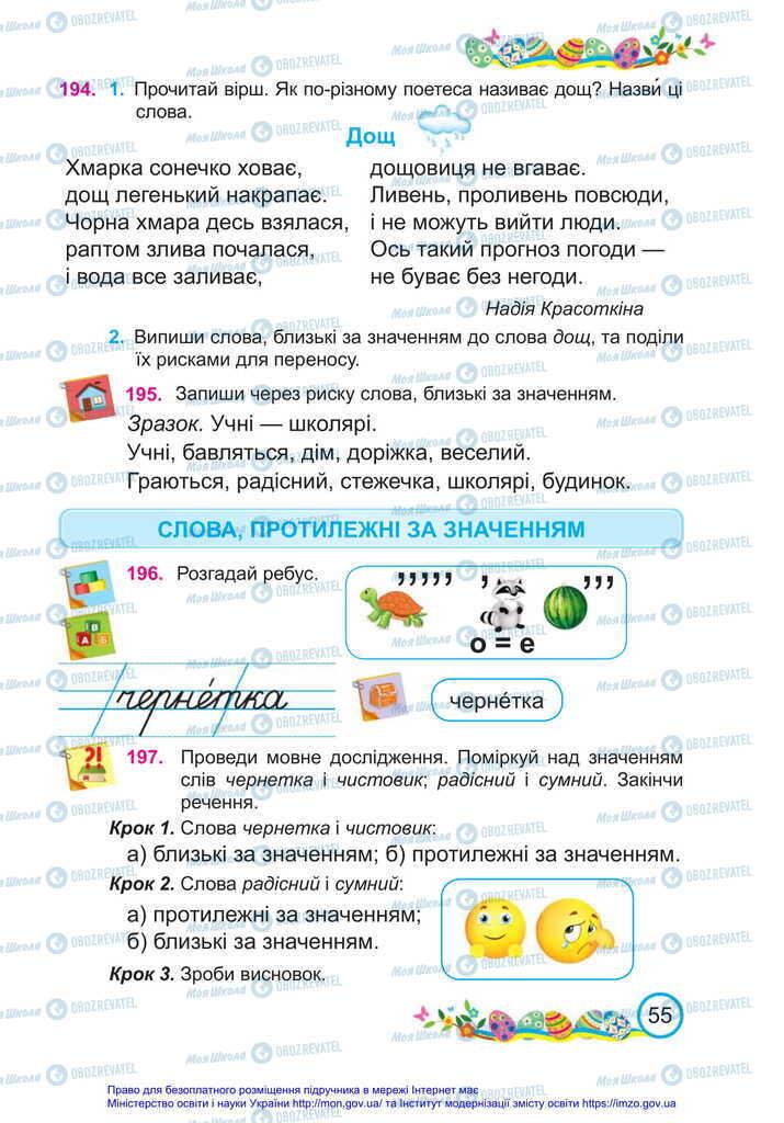 Підручники Українська мова 2 клас сторінка  55