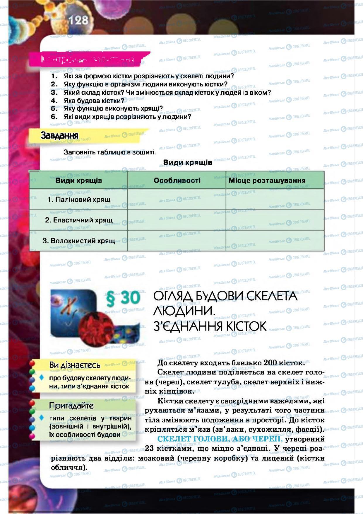 Підручники Біологія 8 клас сторінка 128